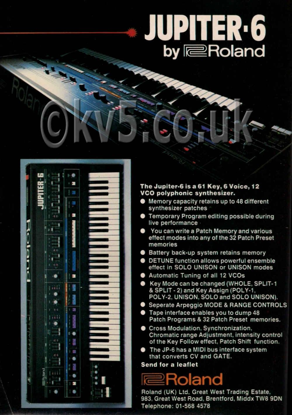 Roland Jupiter 6 Original 1984 Advert